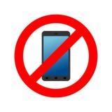 Stoppa telefonen Det förbjudas till appellen Förbudsmartphone RÖTT CIRKLA royaltyfri illustrationer