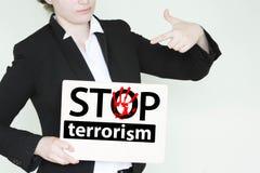 Stoppa terrorismbegreppet inskrift arkivbild
