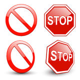 Stoppa undertecknar Arkivfoton