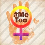 Stoppa våld mot kvinnor mig för symbolgrungetappning stock illustrationer