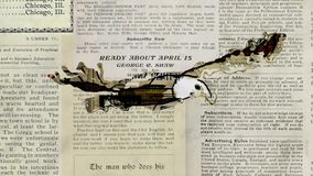 Stoppar flugan för den skalliga örnen för tidningspappergrunge den sömlösa öglan för rörelsetecknad filmanimeringen - handgjort r vektor illustrationer