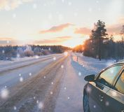 Stopped car on a snowy road.  Royalty Free Stock Photography
