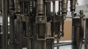 A stopped conveyor for bottling drinking water. Conveyor parts. stock video footage