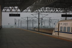 The stopped CRH. In jiaxing railway station stock photography