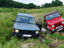 Stopped off-road vehicles Royalty Free Stock Photo