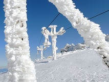 Stopped ski lift in frost. Sunny winter day in Vitosha Mountain, Bulgaria Royalty Free Stock Photo