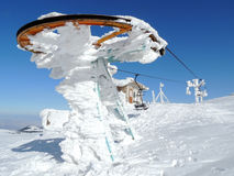 Stopped ski lift in frost. Sunny winter day in Vitosha Mountain, Bulgaria Stock Images