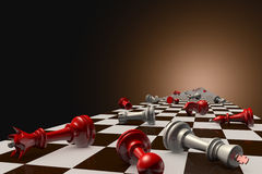 Stopped time. Red and gray pawn on the chessboard (lie randomly). Dark artistic background Royalty Free Stock Images
