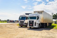 Stopped trucks on the highways for protest the diesel price incr. Campo Grande, Brazil - May 24, 2018: Stopped trucks on the highways for protest the diesel Royalty Free Stock Photos