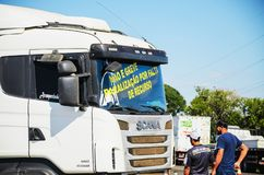 Stopped trucks on the highways for protest the diesel price incr. Campo Grande, Brazil - May 24, 2018: Stopped trucks on the highways for protest the diesel Stock Photos
