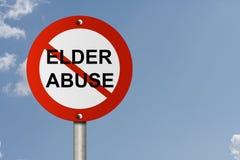 Stoppen Sie älteres Missbrauchs-Zeichen stockbilder