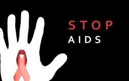 Stoppen Sie AIDS unterzeichnen mit der weißen Hand und rotem Band auf schwarzem backgroun Stockfotografie
