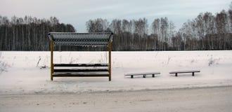 Stoppen Sie auf der Autobahn im Winter in Russland Stockbild