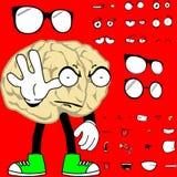 Stoppen Sie die eingestellten Gehirnkarikaturhippie-Artausdrücke Stockfoto