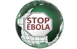 Stoppen Sie Ebola-Zeichen über grüner Weltkugel Lizenzfreies Stockfoto