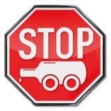 Stoppen Sie Flasche auf Rädern und Alkoholismus lizenzfreie abbildung