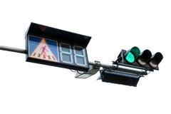 Stoppen Sie Fußgängerübergangzeichen mit dem hellgrünen Verkehr Lizenzfreies Stockfoto