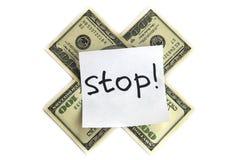 Stoppen Sie Geld Stockfoto