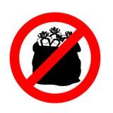 Stoppen Sie Geschenke Es ist verboten, um giftt zu geben Emblem gegen Sankt Lizenzfreies Stockbild