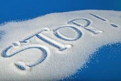 STOPPEN Sie geschrieben mit Zucker Lizenzfreie Stockfotos