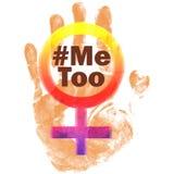 Stoppen Sie Gewalttätigkeit gegen Frauen ich auch Symbolschmutzweinlese stockbild