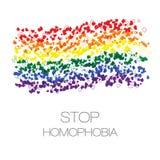 Stoppen Sie Homophobie Band von den wenig Herzen in den lgbt Flaggenfarben Lizenzfreies Stockbild