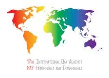 Stoppen Sie Homophobie Earht in den lgbt Flaggenfarben Lizenzfreie Stockfotos