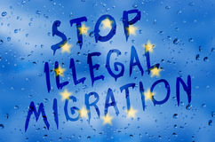 Stoppen Sie illegale Migration Stockfoto