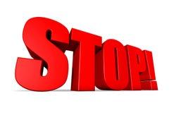 Stoppen Sie im roten Text 3D Lizenzfreie Stockbilder