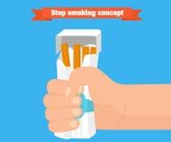 Stoppen Sie, Konzept zu rauchen Hand, die ein Paket des Zigarettenvektors zerquetscht lizenzfreie abbildung