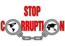 Stoppen Sie Korruption Stockbild