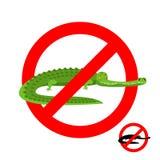 Stoppen Sie Krokodil Verbotener Alligator Strikethrough-Kaiman Embl Lizenzfreie Stockfotografie