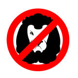 Stoppen Sie Löwe Verbotenes wildes Tier Emblem gegen Fleischfresser Rot Lizenzfreie Stockbilder