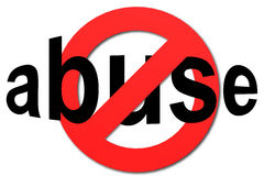 Stoppen Sie Missbrauch unterzeichnen herein Rot Lizenzfreie Stockfotografie