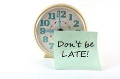 Stoppen Sie mit Aufkleber Don ab, den `t spät ist. Allgemeines Konzept Lizenzfreies Stockfoto
