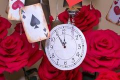 Stoppen Sie mit Skala, große künstliche Rosen, Spielkarten, ACE ab Lizenzfreie Stockfotos
