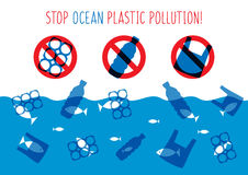 Stoppen Sie Ozeanplastikverschmutzungs-Vektorillustration Stockfotografie