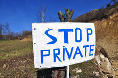Stoppen Sie privates Zeichen Lizenzfreies Stockbild