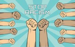 Stoppen Sie Rassismusillustration mit vielen Leutehandshowkämpfen gegen sie mit Verschiedenartigkeitshautfarbe stock abbildung