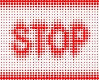 STOPPEN Sie rote Aufschrift auf einem weißen Hintergrund Stockbild