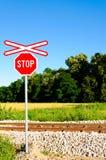 Stoppen Sie Schiene Stockfoto