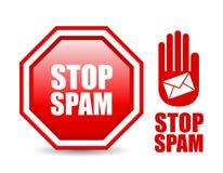 Stoppen Sie Spamzeichen Stockfoto