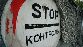 Stoppen Sie Steuerung am Militärposten stock video footage