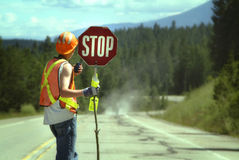 Stoppen Sie Straßenbau lizenzfreies stockbild