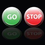 Stoppen Sie und gehen Sie Knopfvektorillustration Stockbild