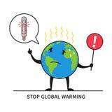 Stoppen Sie Vektorillustration der globalen Erwärmung Stockbild