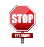 Stoppen Sie Verkehrsschildillustration des Versuchs wieder Stockbild