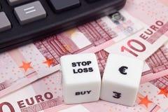 Stoppen Sie Verlust Eurodollar Stockfoto