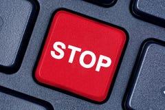 Stoppen Sie Wort auf Tastaturknopf Lizenzfreies Stockfoto