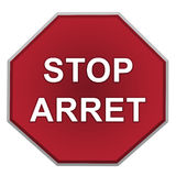 Stoppen Sie Zeichen auf weißem Hintergrund Stockfotografie